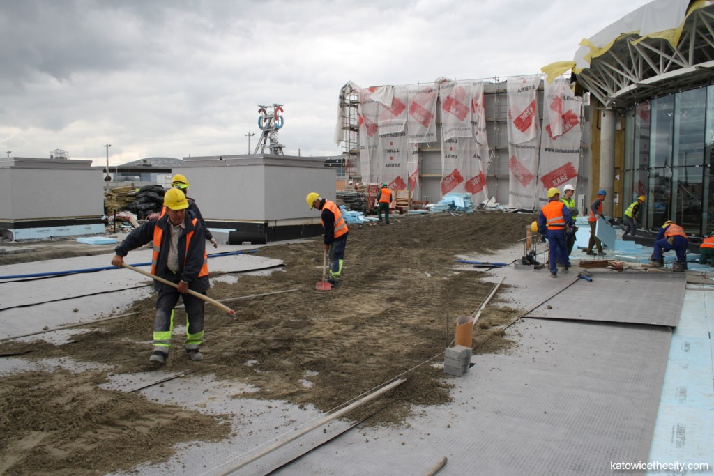 Construction work on new Silesia City Center, car park on the roof