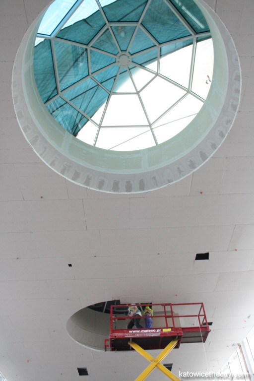 Construction work on new Silesia City Center, skylight on the first level