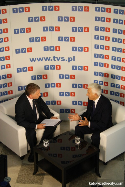 Jerzy Buzek, President of the European Parliament during a TV interview