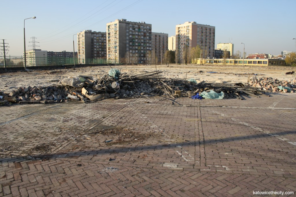 Former car park at the mine waste dump