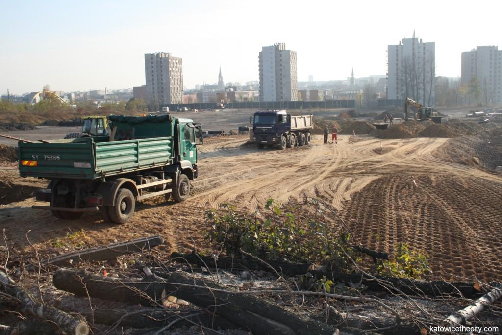 Construction work on the new track of Olimpijska Street