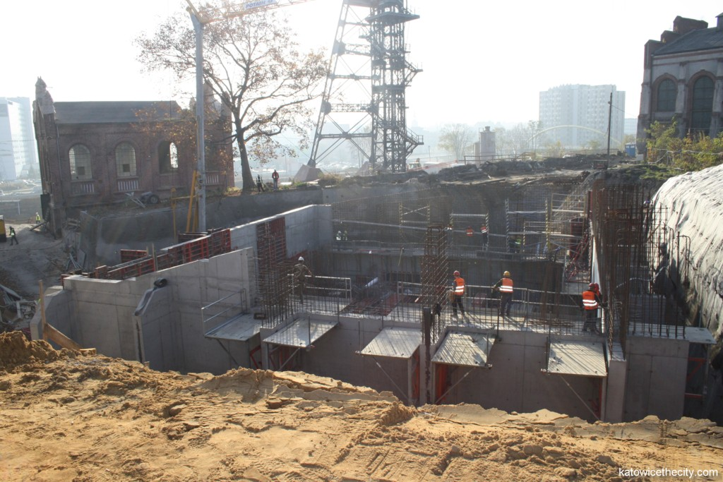 Construction work on the central hall of the new Silesian Museum's seat