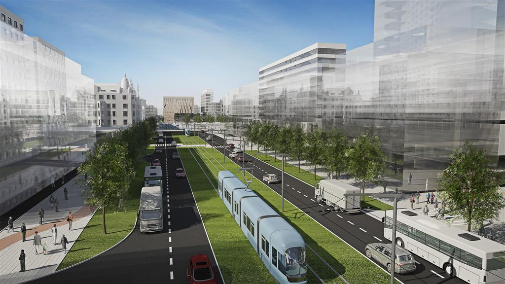 © City Hall of Katowice; planned new tram line between the Market Sqaure and the Roundabout