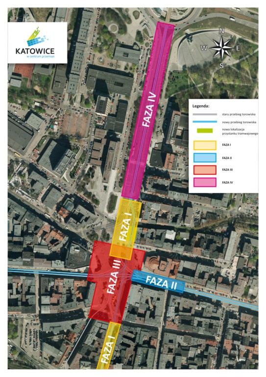 © City Hall of Katowice, four phases of the tram line redevelopment between the Market Sq. and Roundabout