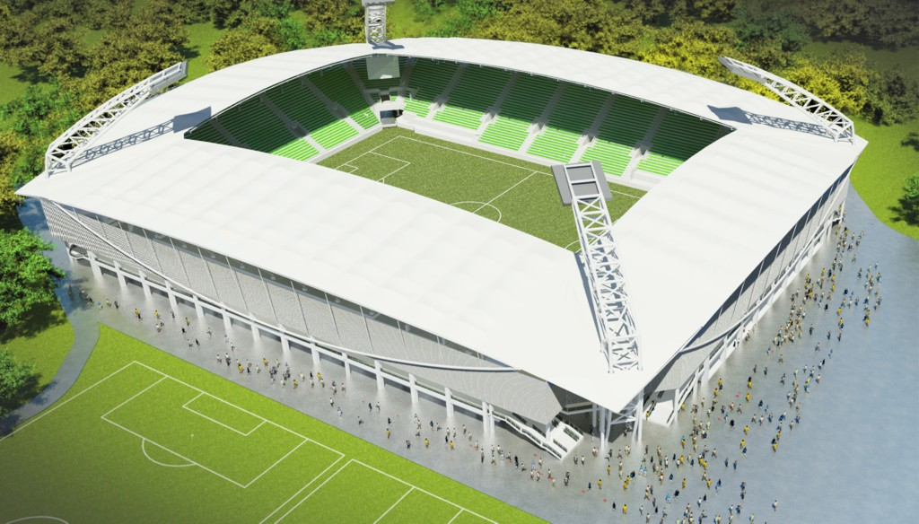 © City Hall of Katowice; first architectural concept of the new GKS Katowice stadium