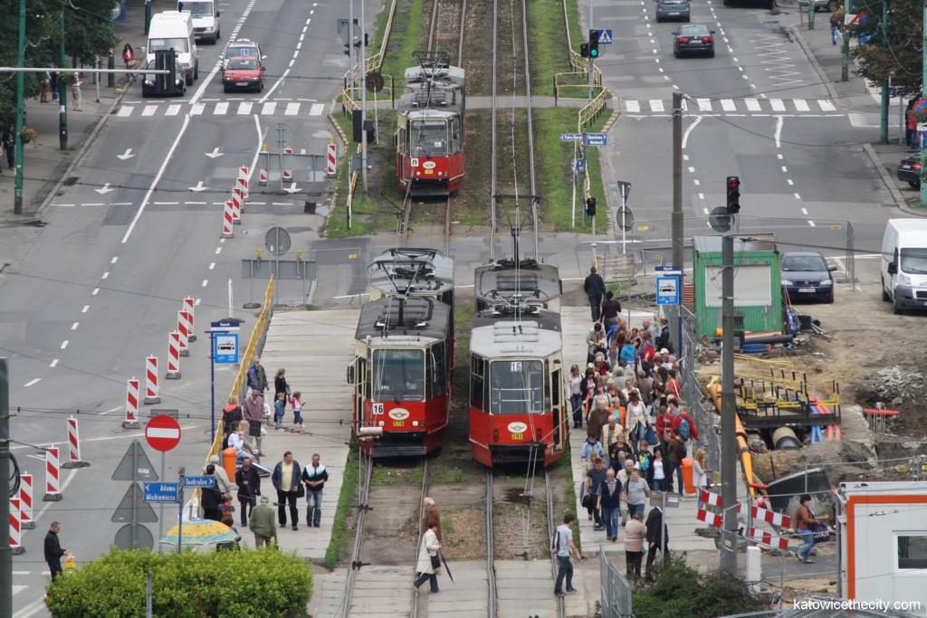 Temporaty tram stop on Korfantego Av.