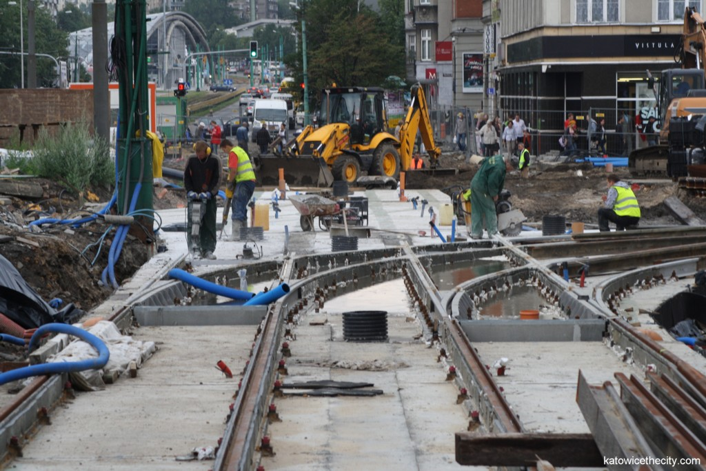 First stage of works on the City Center redevelopment, laying of the tram track-ways on the Market Sq.