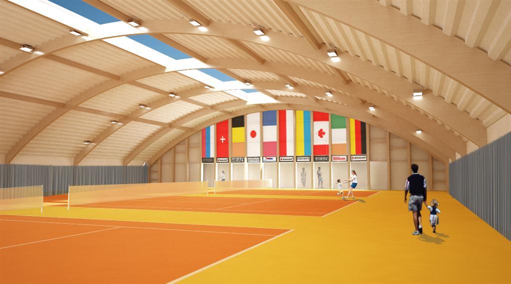 © Millenium Inwestycje; Visualisation of the tennis courts' hall