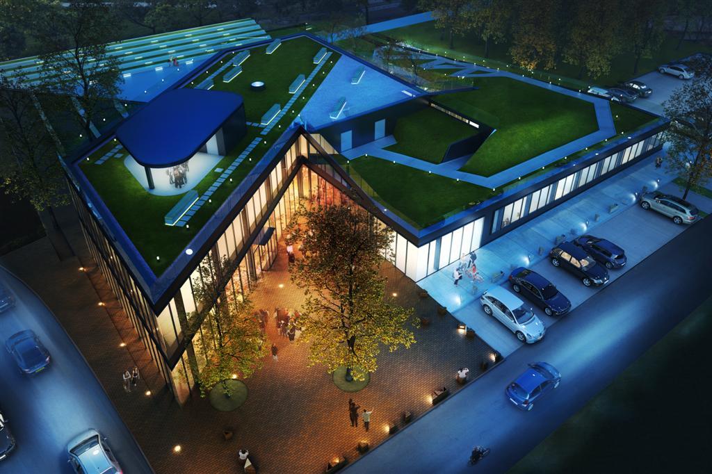 © Pracownia Architektury i Urbanistyki Rafal Mazur; visualization of the City Community Center in the district of Dąbkatowice