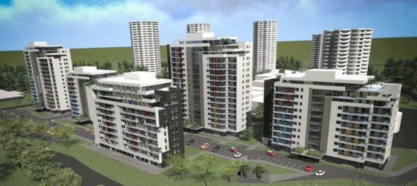 """© J.W. Construction; planned housing estate on Tysiąclecia St., the existing """"Kukurydze"""" buildings at the background"""