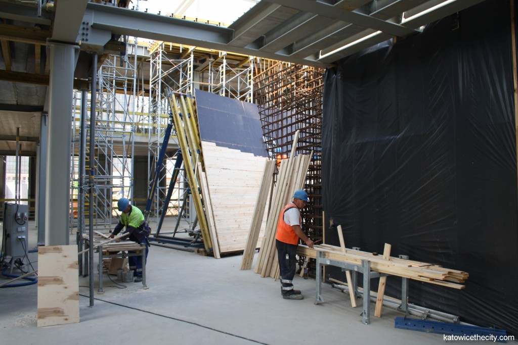Works on the hand-made wooden formwork of the external great concert hall's wall