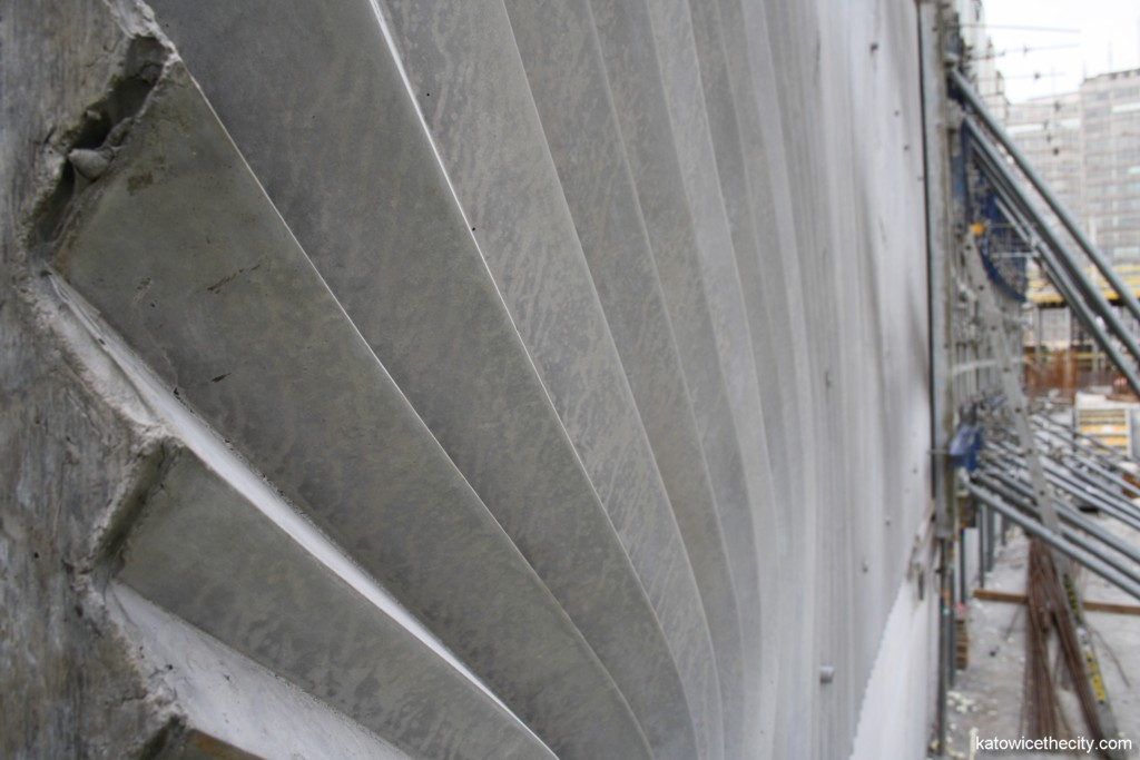 Irregural pattern of the internal concrete wall of the great convert hall