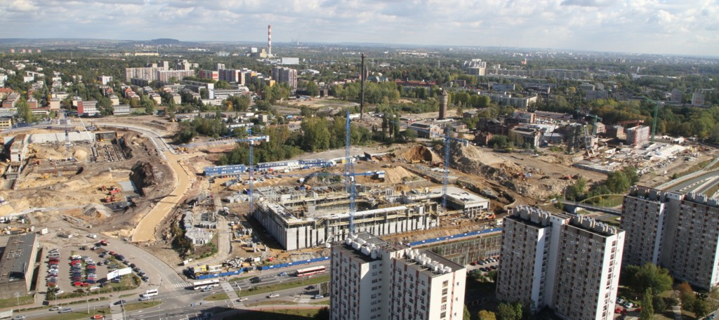L to R: Construcion work on the International Convention Center (suspended), the National Polish Radio Symphony Orchestra's new seat and the Silesian Museum, photo by Sławomir Rybok