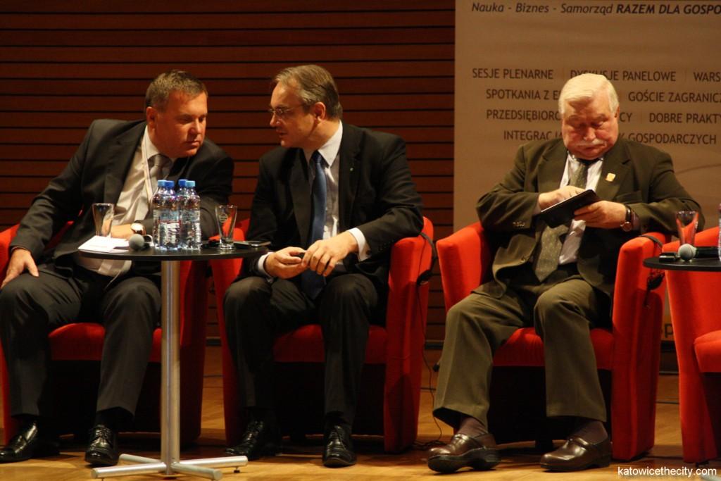 L to R: Zygmunt Łukaszczyk, Silesian Voivode; Waldemar Pawlak, Deputy Prime Minister and Minister of Economy; Lech Wałęsa, Polish president in the years 1990-1995