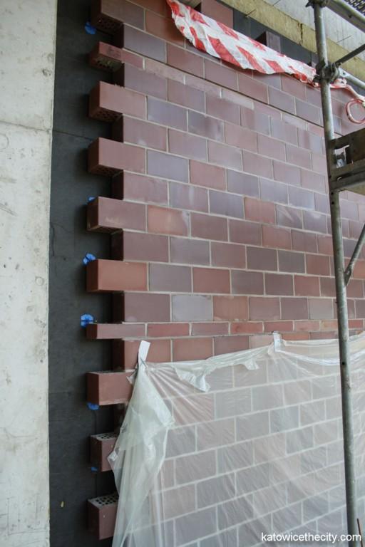Advanced Information Technology Center under construction, clinkier brick elevation