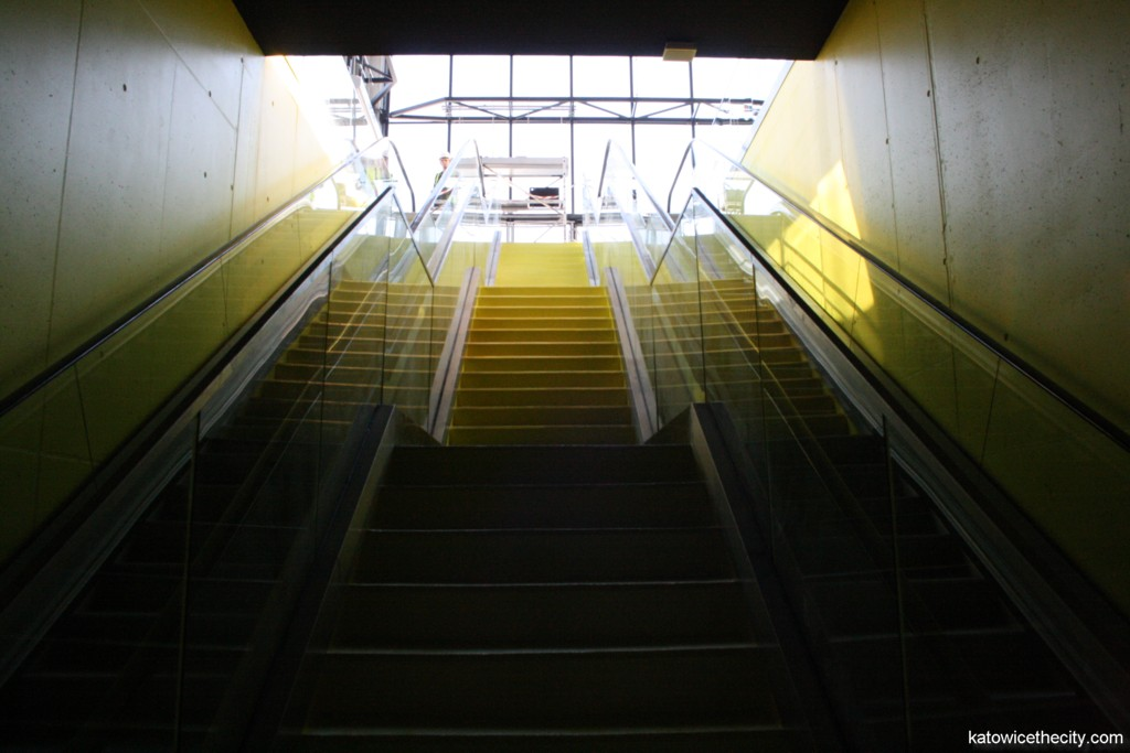 Moving stairways of the underground bus station