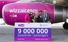 Wizz Air's 9-millionth passenger at Katowice International Airport