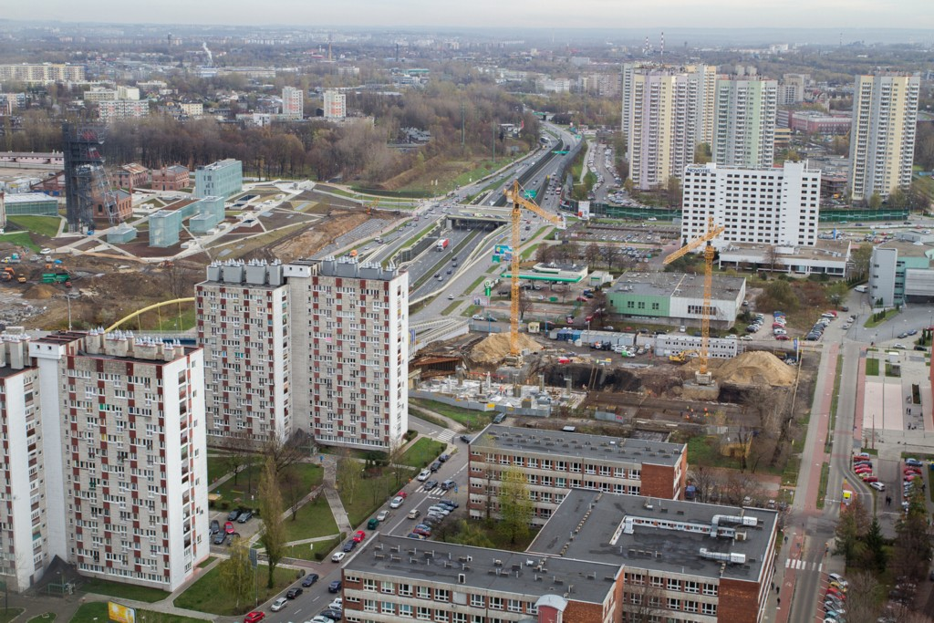 """© City Hall of Katowice; construction site of Silesia Star, the """"Gwiazdy"""" housing estate at the top right corner, photo by Sławomir Rybok"""