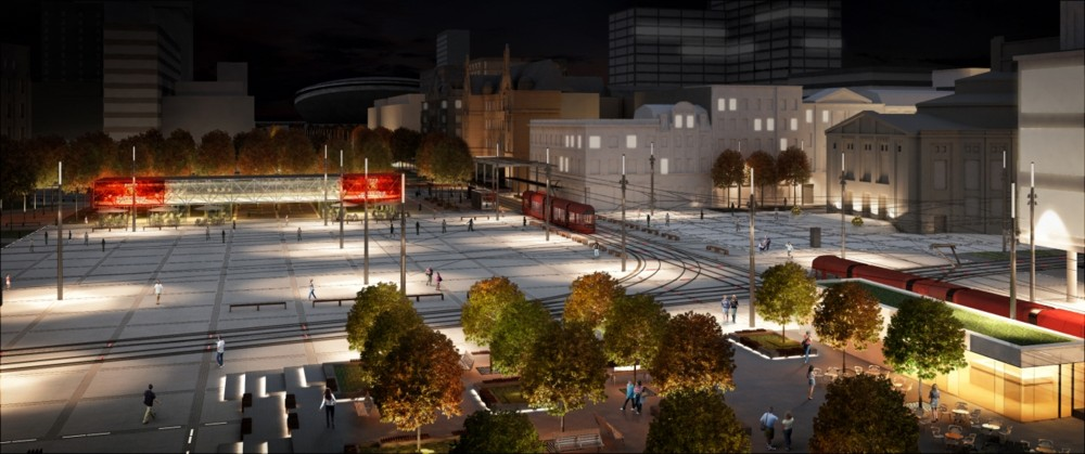 © City Hall of Katowice: visualization Flower Sq. and the square in front of the Silesian Theater